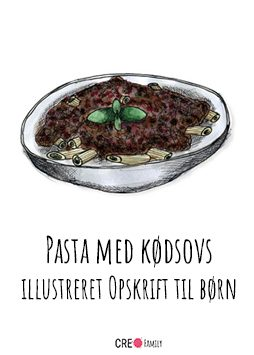 Pasta med kødsovs – illustreret opskrift til børn